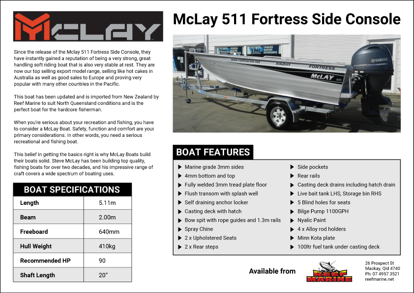 McLay 511 Fortress Side Console Brochure