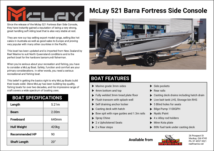 McLay 521 Fortress Barra Tournament Side Console Brochure