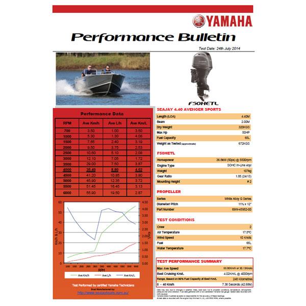 Yamaha F50 Sea Jay Performance Bulletin