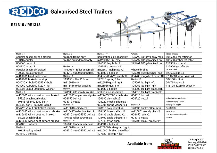 Redco Sportsman RE1313 4.5m Boat Trailer Brochure
