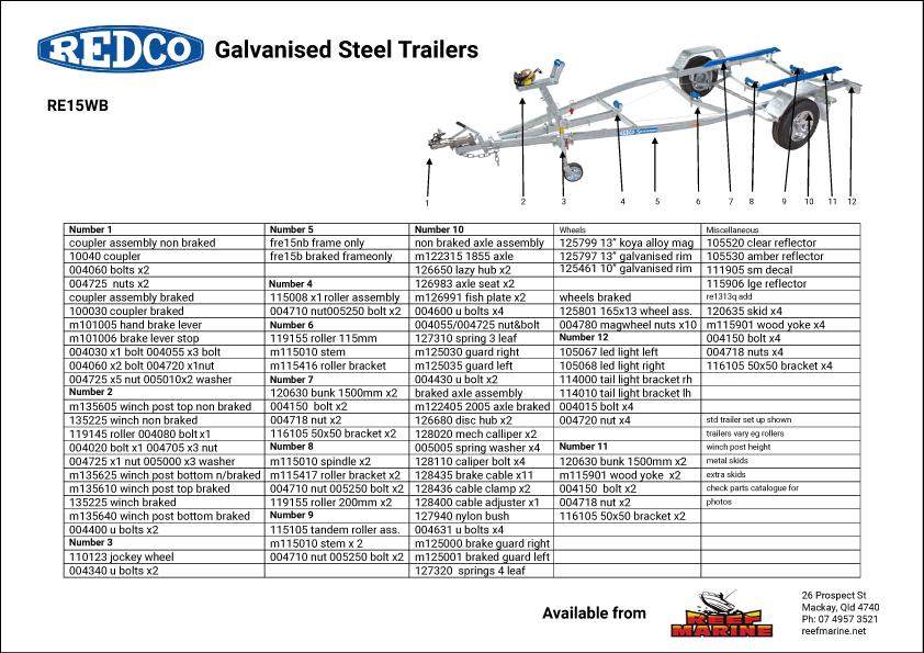 Redco Sportsman RE15WB 4.7m Boat Trailer Brochure