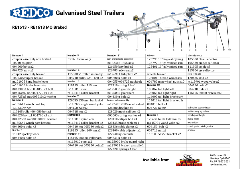 Redco Sportsman RE1613 5.2m Boat Trailer Brochure