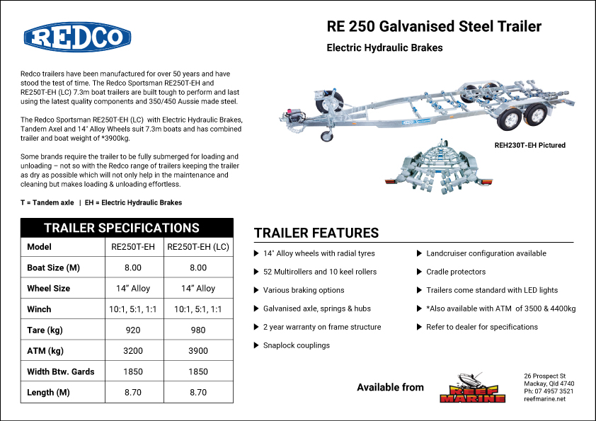 Redco Sportsman RE250 8.0m Boat Trailer Brochure
