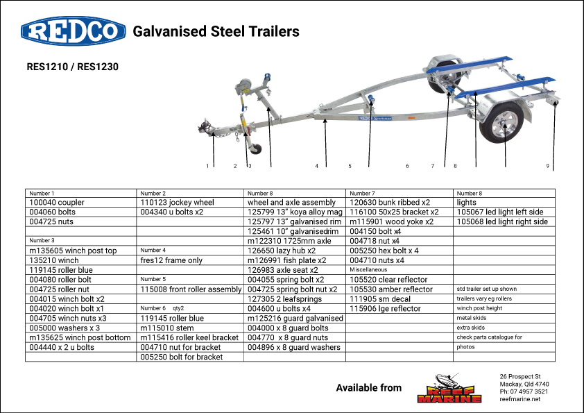 Redco Sportsman RES213 Boat Trailer Brochure