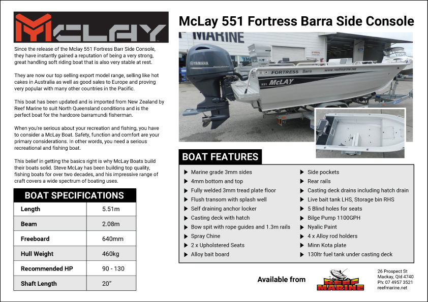 Mclay 551 Fortress Barra Side Console Brochure