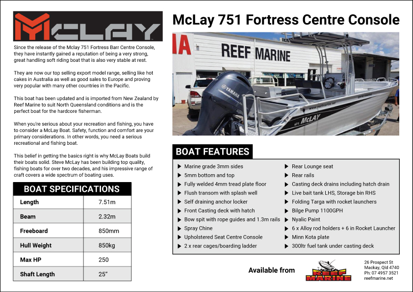 Mckay 751 Fortress Centre Console Brochure