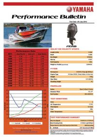 Sea Jay 520 Velocity Sports with Yamaha F115XB Performance Bulletin