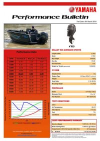 Sea Jay 538 Avenger Sports with Yamaha F115 Performance Bulletin